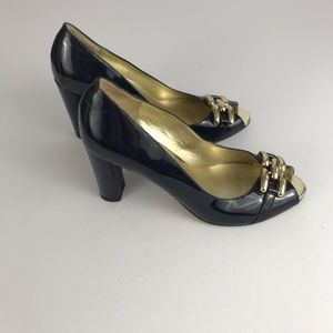 Ann Taylor Heels Blue Patent Leather Size 8.5M